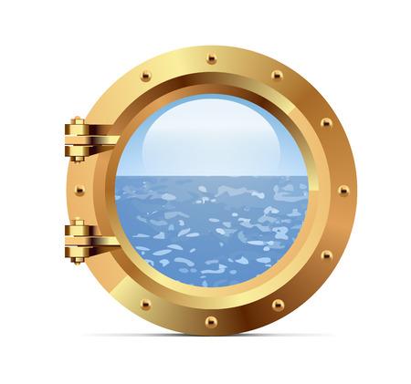 Ship bronze porthole on white background. Vector illustration