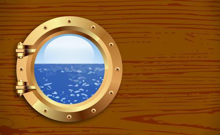 finestra: Nave oblò in bronzo su fondo in legno. illustrazione di vettore
