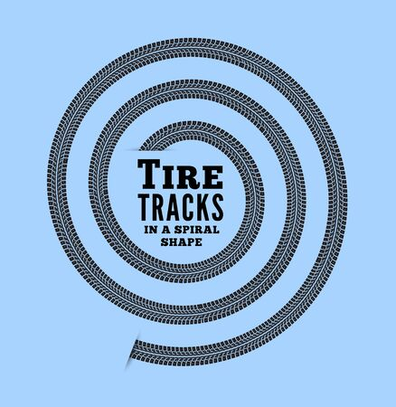 constancy: Tire tracks in spiral shape. Vector illustration on bluebackground Illustration