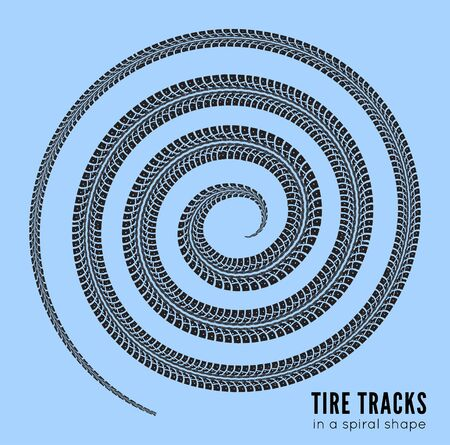 constancy: Tire tracks in spiral shape. Vector illustration on white background