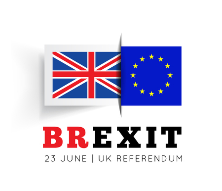 Illustrazione di vettore di Brexit con le bandiere Regno Unito e UE su fondo bianco Archivio Fotografico - 59218671