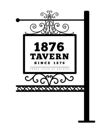 Tavern sign, metal frame with curly elements. Vector illustration on white background