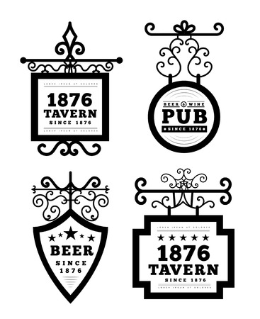 taverns: Tavern sign, metal frame with curly elements. Vector illustration on white background