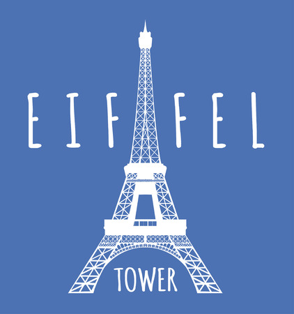 pictorial art: Eiffel tower in Paris. Vector illustration on blue