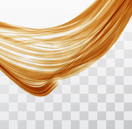 wavy hair: Closeup of long human hair with tilt shift effects. Vector illustraion on chekered background Illustration