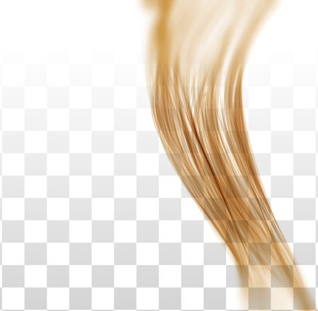 Closeup of long human hair with tilt shift effects. Vector illustraion on on chekered background