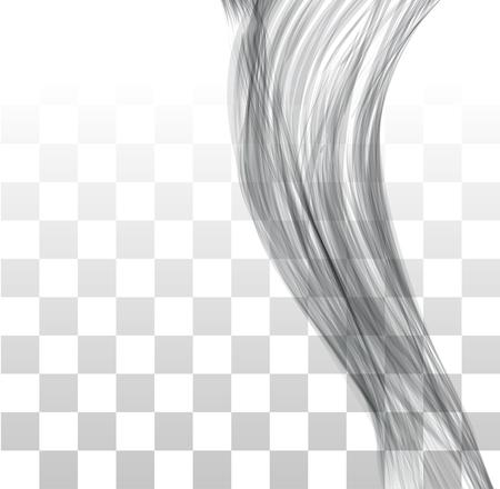 Closeup of long human hair. Vector illustraion on chekered background