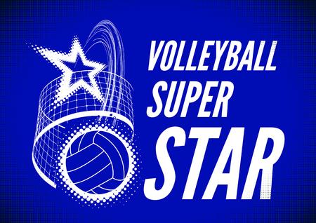 super star: Volleyball super star design badge