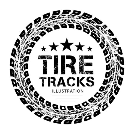 tire cover: Tire tracks.illustration on white background