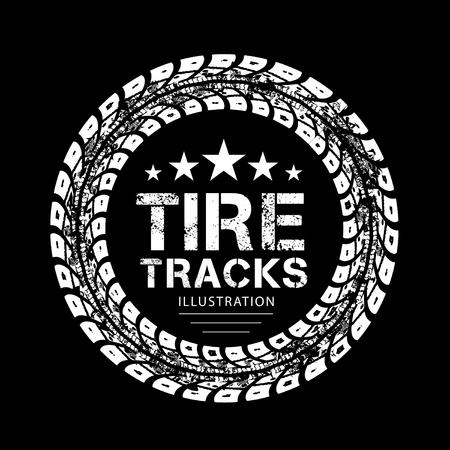 tire cover: Tire tracks. illustration on black background Illustration