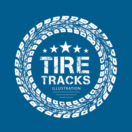 tire cover: Tire tracks. illustration on blue background