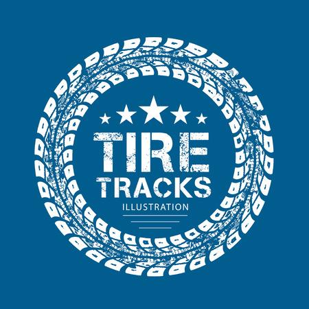bike cover: Tire tracks. illustration on blue background