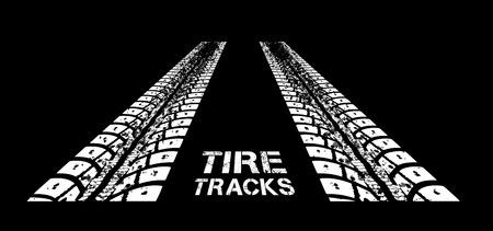 tracce di pneumatici. illustrazione su sfondo nero