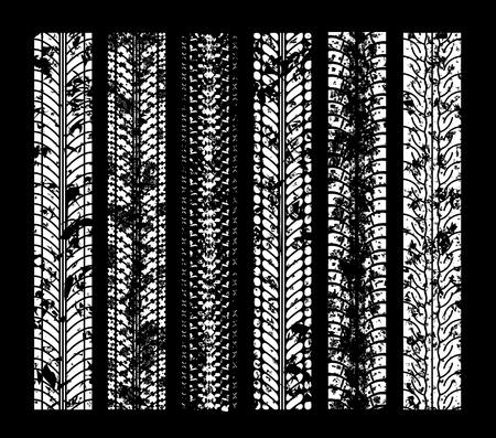 Tire tracks. illustration on black background Illustration
