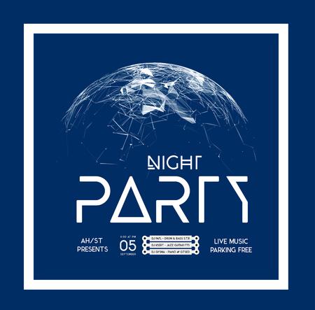 plexus: Night Disco Party Poster Background Template - Vector Illustration