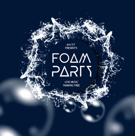 foam: Foam party splash vector background with buble soap