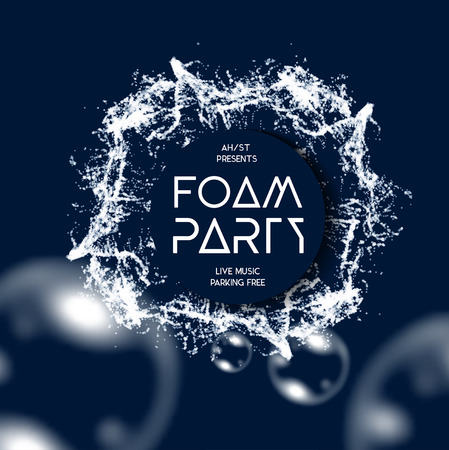 Foam party splash vector background with buble soap