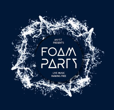 blue party: Foam party splash vector background on blue