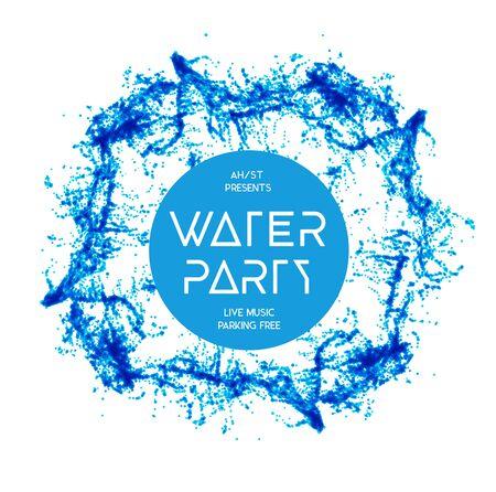 Blue water splash geïsoleerd op wit, vector achtergrond