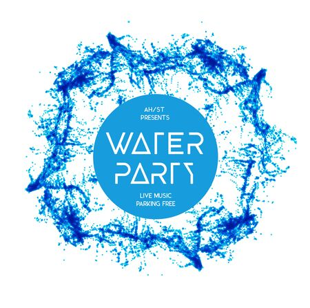 Blue water splash isolated on white, vector background Illustration