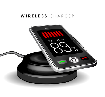 wireless: Smartphone on a wireless charge. Vector illustration