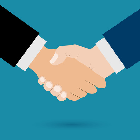 Handshake vector illustration. Background for business and finance Stock Illustratie