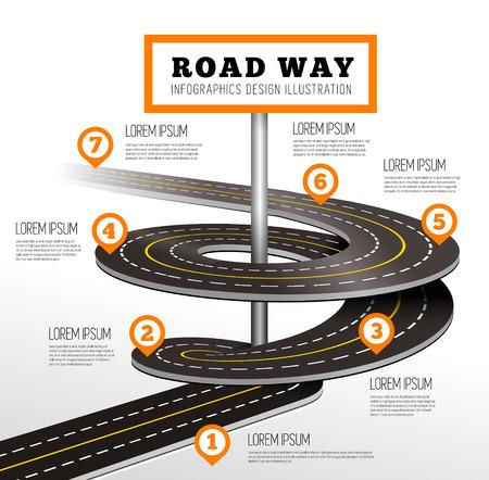 Road way design infographics. Vector illustration on white
