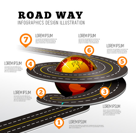 road design: Road way design infographics. Vector illustration on white