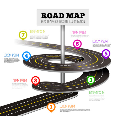 road line: Road way design infographics. Vector illustration on white