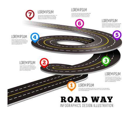 way: Road way design infographics. Vector illustration on white