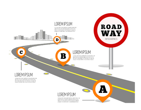 Road way design infographics. Vector illustration on white