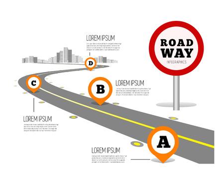 Straße Wege-Design Infografiken. Vektor-Illustration auf weiß Standard-Bild - 60302445