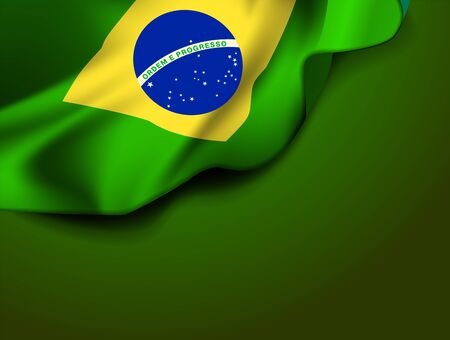 Waving flag of Brazil, South America. Vector illustration