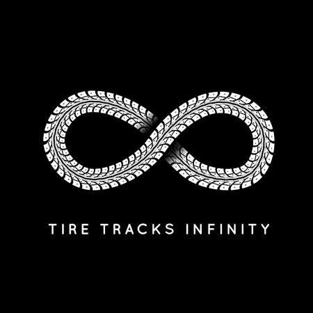 infinity road: Tire Tracks in Infinity Form. Vector illustration Illustration