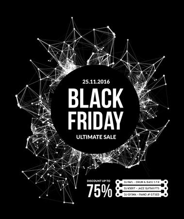 vendita venerdì nero. illustrazione vettoriale su sfondo nero Vettoriali