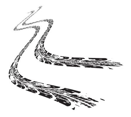 treads: Tire tracks. Vector illustration on white background Illustration