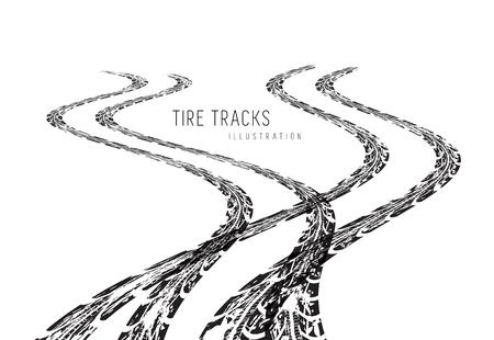 tire marks: Tire tracks. Vector illustration on white background Illustration