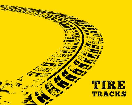 Tire tracks. Vector illustration on yellow background