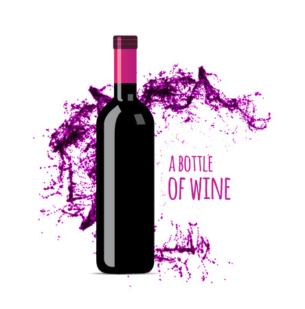 Chapoteo del vino rojo con la botella. illsustration vectorial sobre fondo blanco