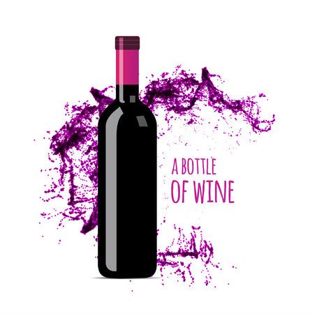 Spruzzata del vino rosso con la bottiglia. Vector illsustration su sfondo bianco