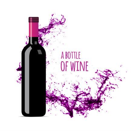 bottle wine: Red wine splash with bottle. Vector illsustration on white background