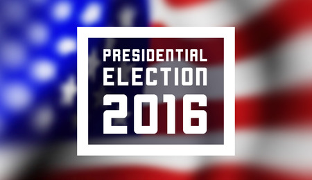 political rally: Presidentioal elecction in USA. Vector illustration with flag