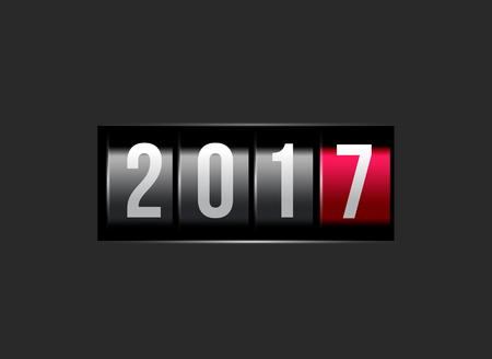 new year counter: New Year counter 2016 with power button. Vector illustration