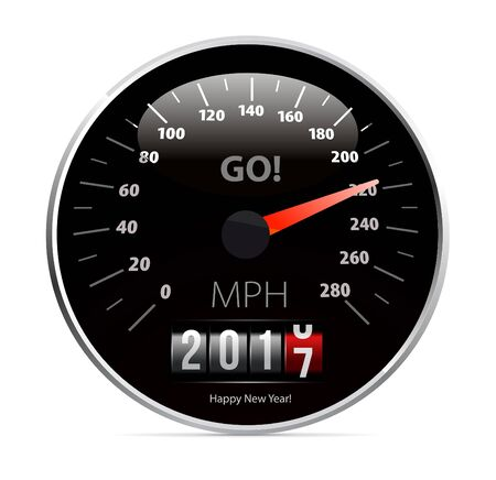 new year counter: 2017 year Calendar speedometer car. Vector illustration
