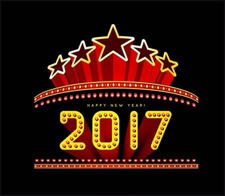 neon party: New Year marquee 2017. Vector illustration on black