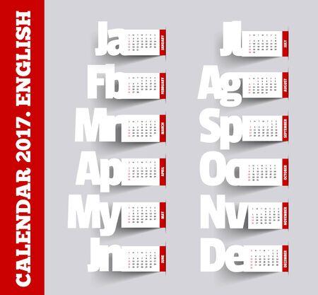 calendrier: Simple 2017 Calendar. Mois, fait dans le style de notes avec des ombres