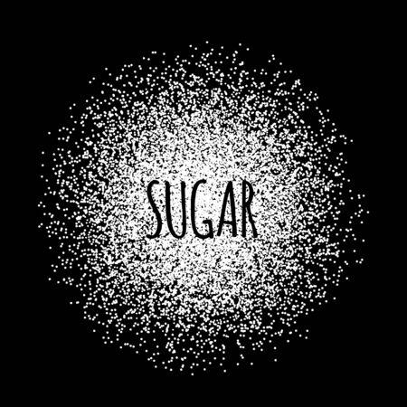 Sugar made of white dots. Vector illustration on black