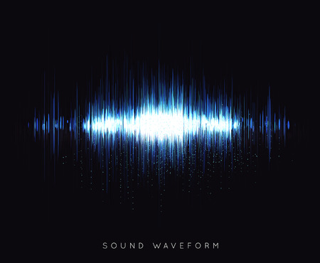 Soundwave waveform vector illustration on black background Vettoriali