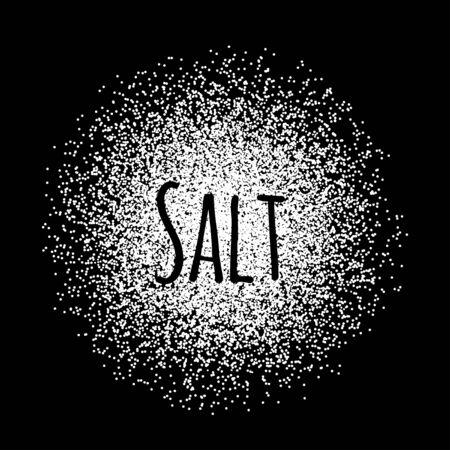 Salt made of white dots. Vector illustration on black