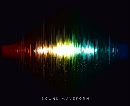 Soundwave waveform vector illustration on black background Stock Photo